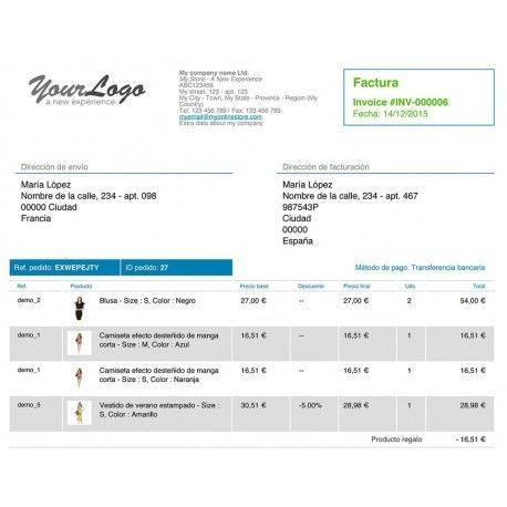 Advanced invoice customization for PrestaShop 1.6