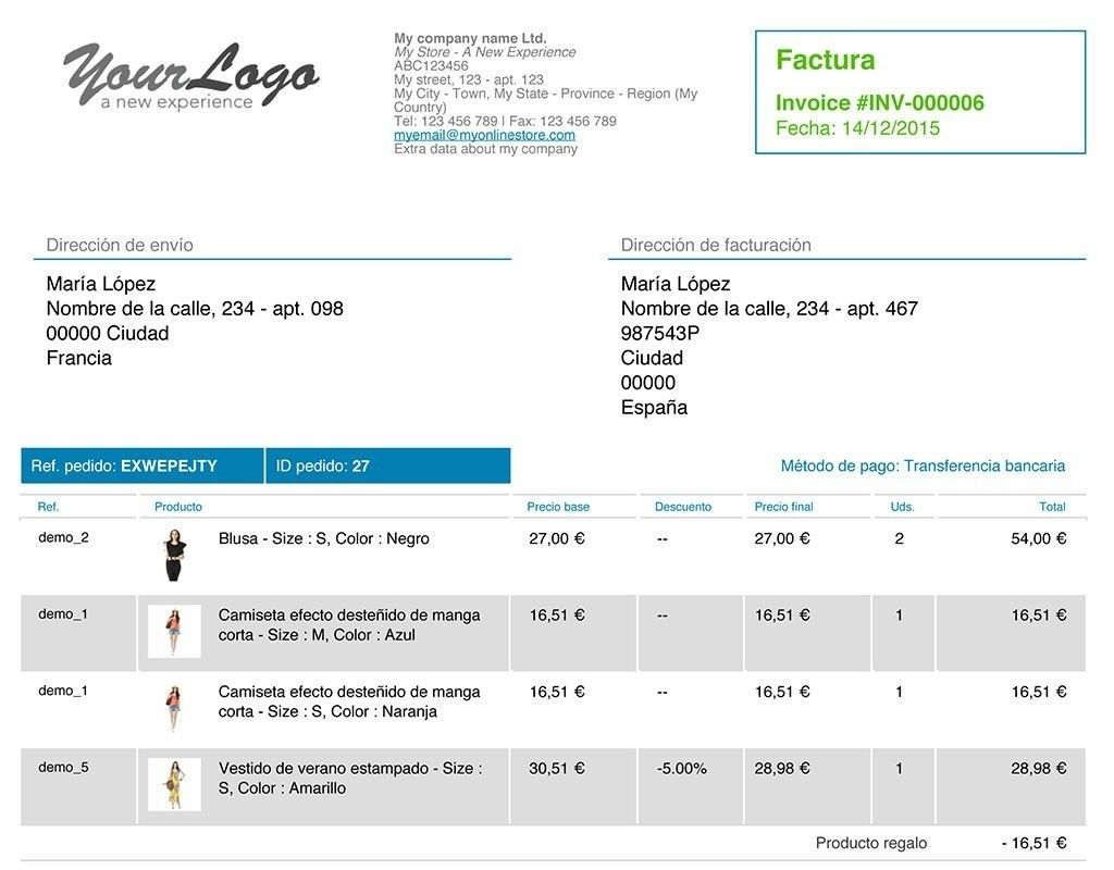 Change Design Data And Colors Of Your PrestaShop Invoices With Module - Invoice module