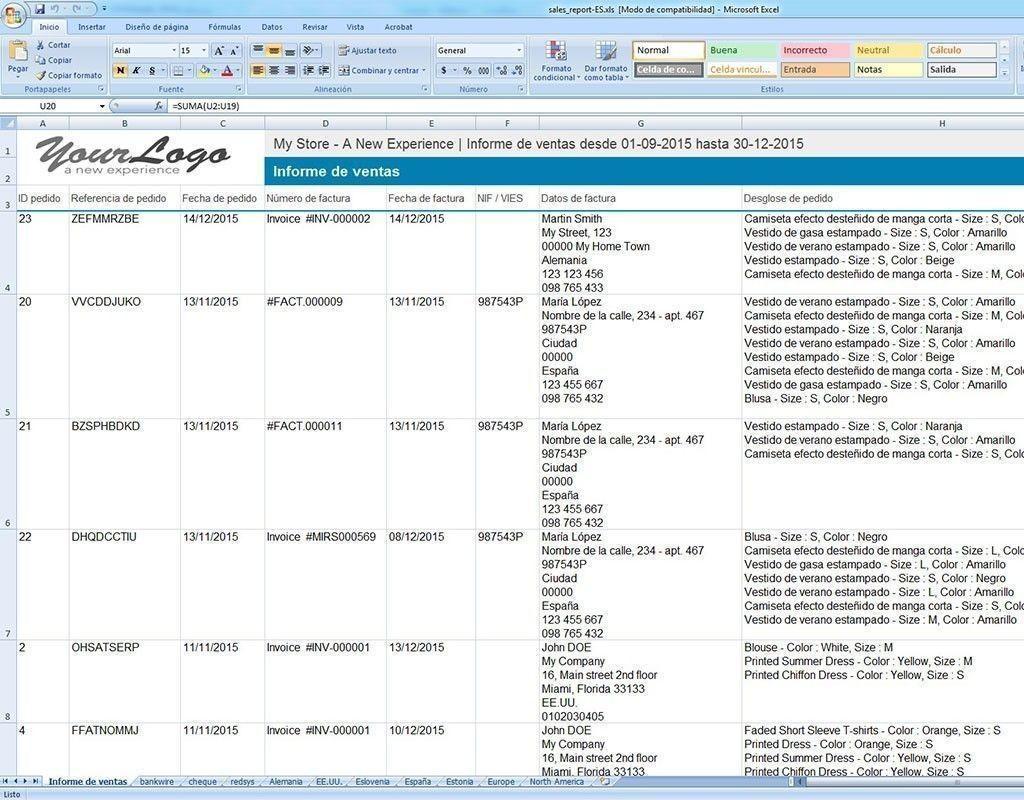 Contabilidad fácil. Informes de ventas en excel. Módulo de PrestaShop