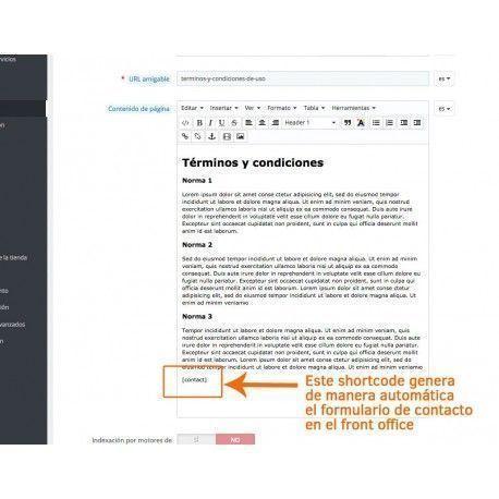 Formulario de contacto en CMS de PrestaShop