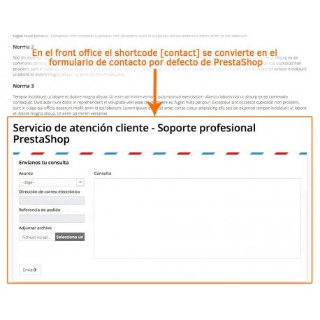 Contact form in PrestaShop CMS