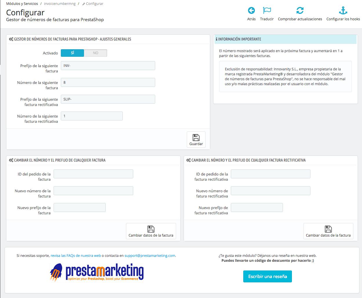 Vista de BO del módulo de gestión libre de facturas